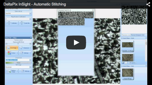 DeltaPix InSight – Automatic motorized Stitching – 1 This video shows how to use the DeltaPix InSight software for automatic stitching.