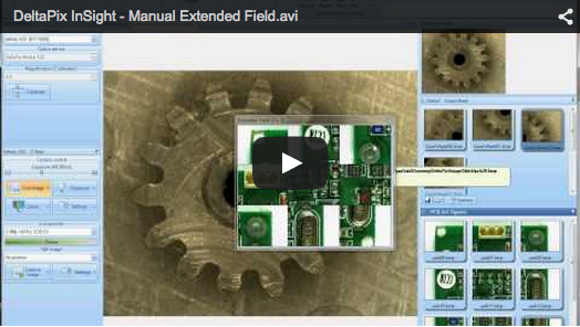 DeltaPix InSight – Manual Extended Field This video shows how easy it is to do a manual Extended Field (Stitching) from four partly overlapping images. Images were captured by moving the sample on a manual XY stage.